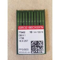 Иглы для прямострочных машин Groz-Beckert №100 DB-1 16*257  773402 #16 упаковка 10 штук тонкая колба